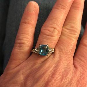 Blue Topaz with CZ Diamonds Fashion Ring